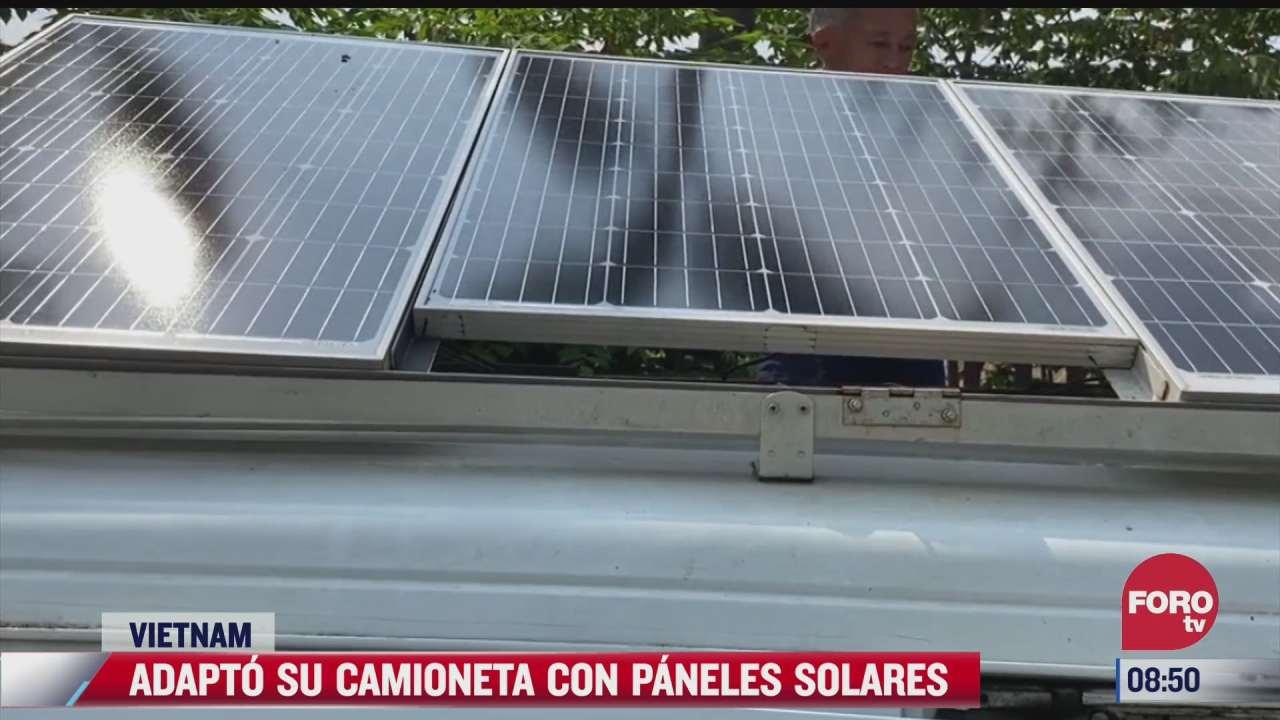 en vietnam hombre adapta su camioneta con paneles solares