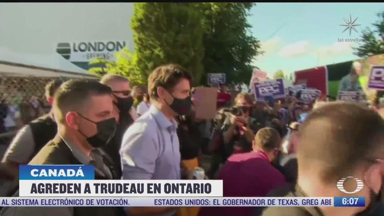 lanzan piedras primer ministro de canada justin trudeau