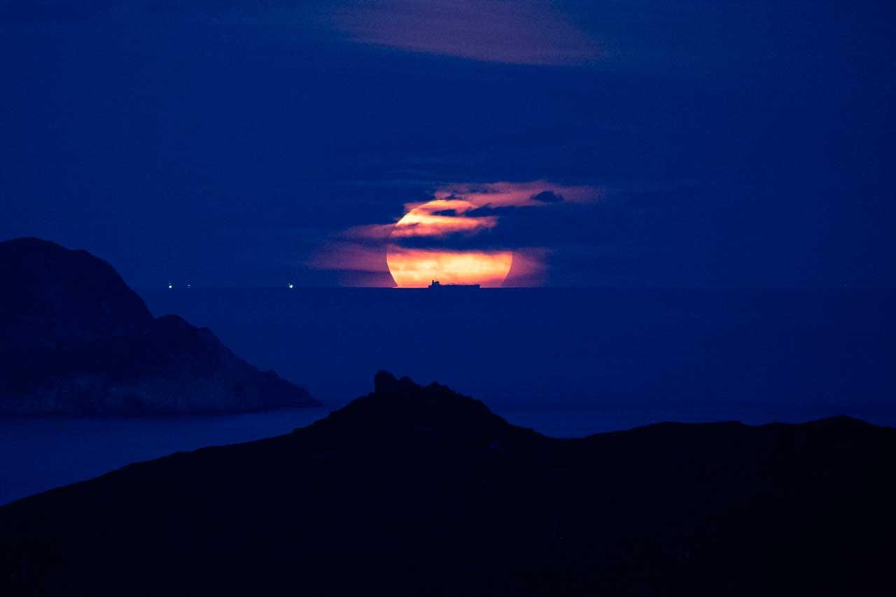 Luna de Cosecha en Hong Kong, China 2021