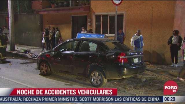 madrugada de accidentes vehiculares en diferentes puntos de la ciudad de mexico