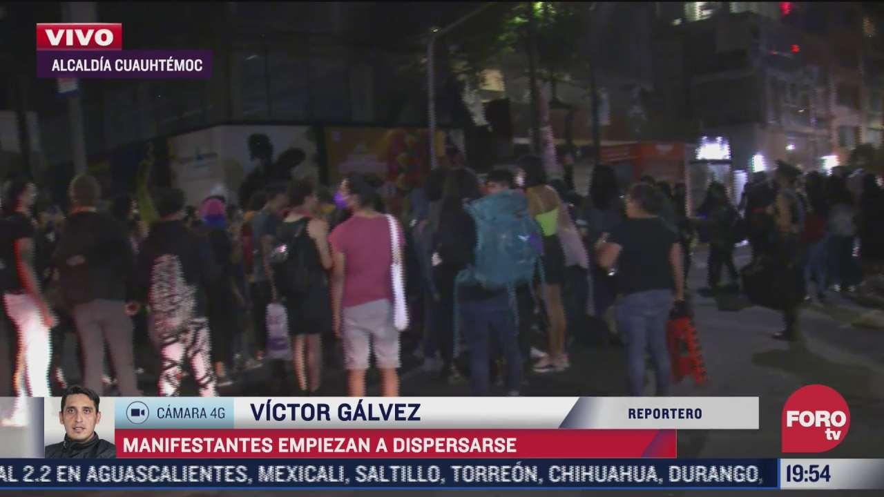 manifestantes se dispersan tras protesta en la glorieta de insurgentes