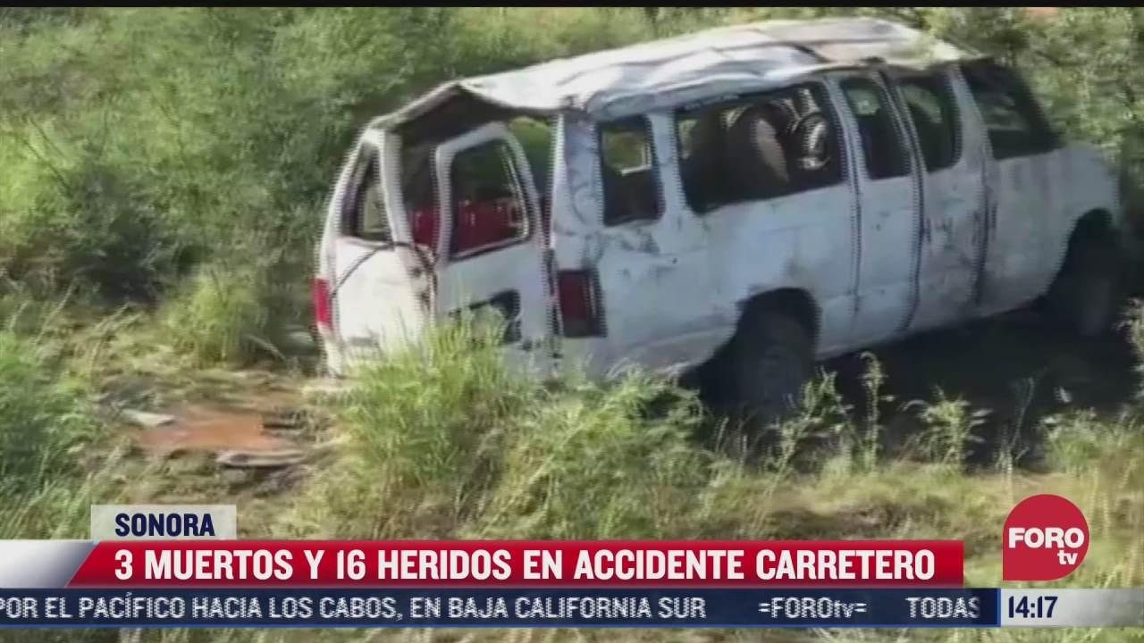 mueren tres personas y 16 mas resultan heridas tras accidente en sonora