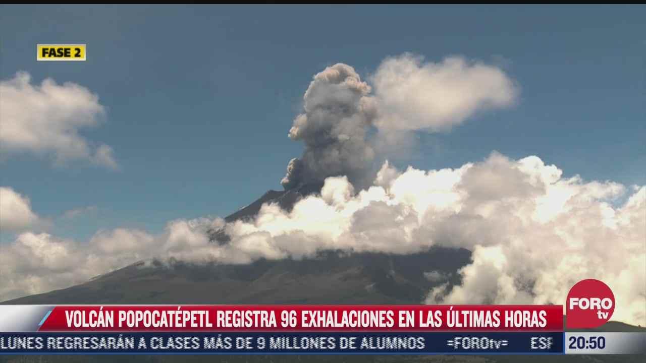 popocatepetl registra 96 exhalaciones en ultimas horas