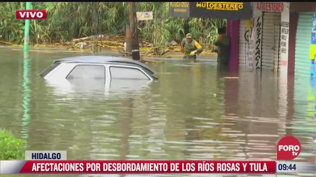 rescatan a personas atrapadas en sus casas por inundaciones en tula hidalgo