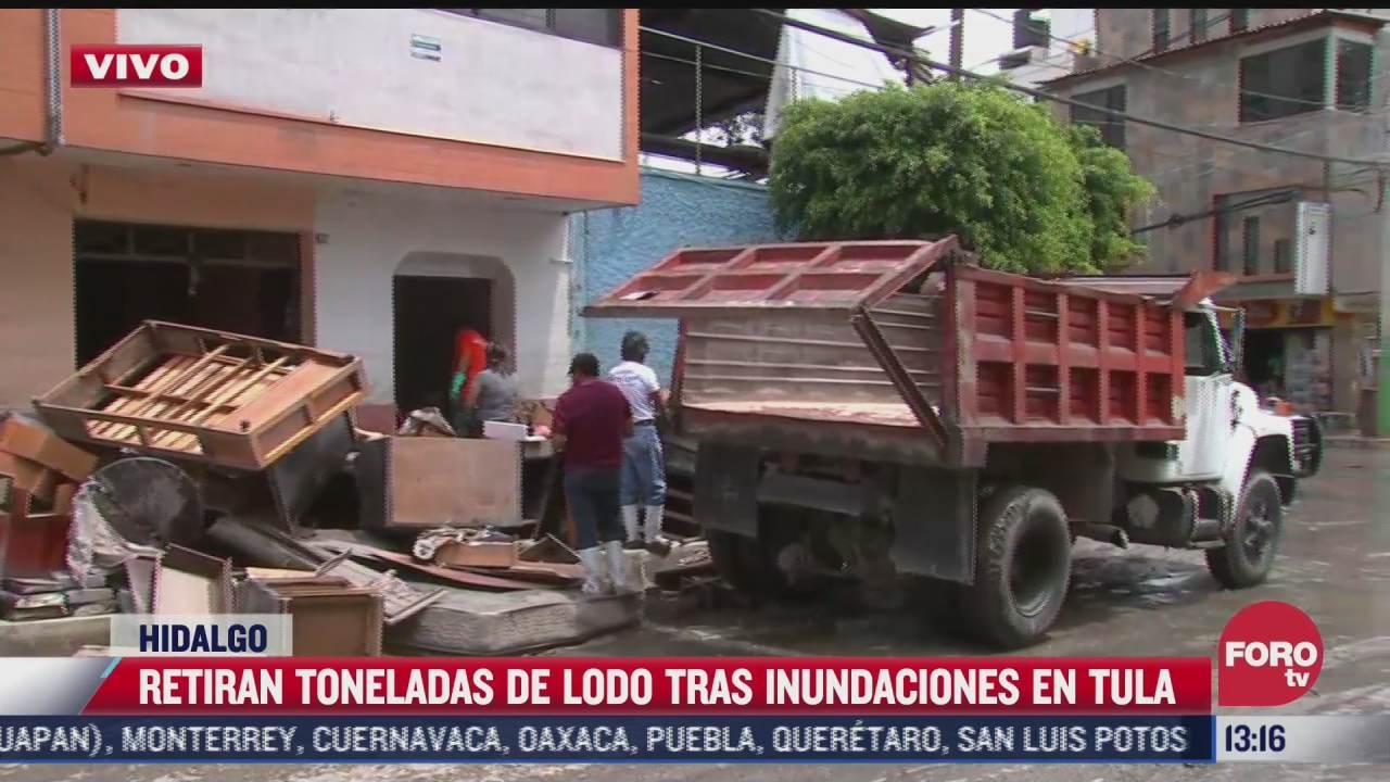 retiran toneladas de lodo tras inundaciones en tula hidalgo