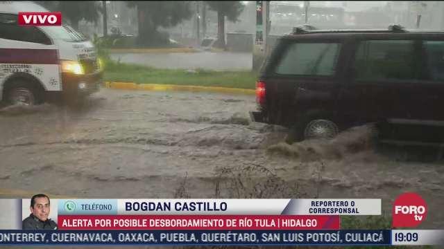 se registra intensa lluvia en tula hidalgo y llaman a la poblacion a dirigirse a los albergues