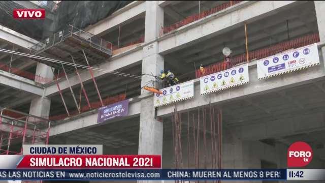 simulan colapso parcial de edificio en construccion durante el simulacro nacional
