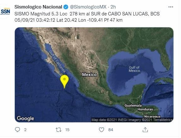 Sismo con magnitud 5.3 sacude Baja California Sur