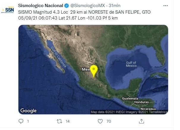 Sismo con magnitud 4.3 sacude Guanajuato. Fuente: Twitter @SismologicoMX