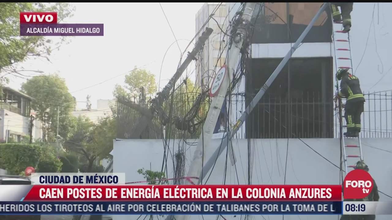 trailer derriba postes de energia electrica en la colonia anzures cdmx