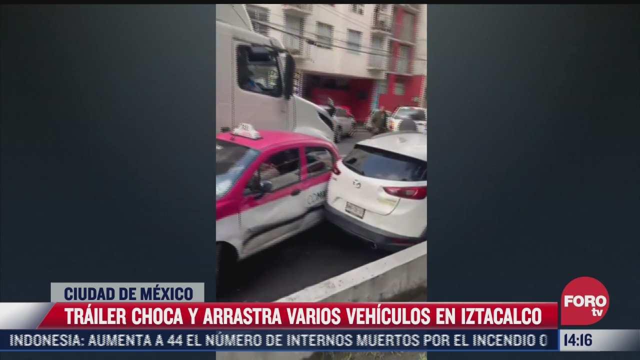 trailer en aparente estado de ebriedad choca varios vehiculos en iztacalco