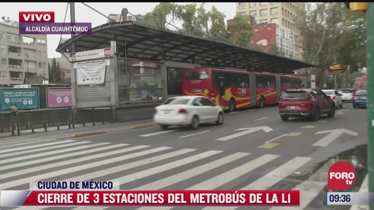 tres estaciones del metrobus de la linea 1 estaran cerradas por mantenimiento