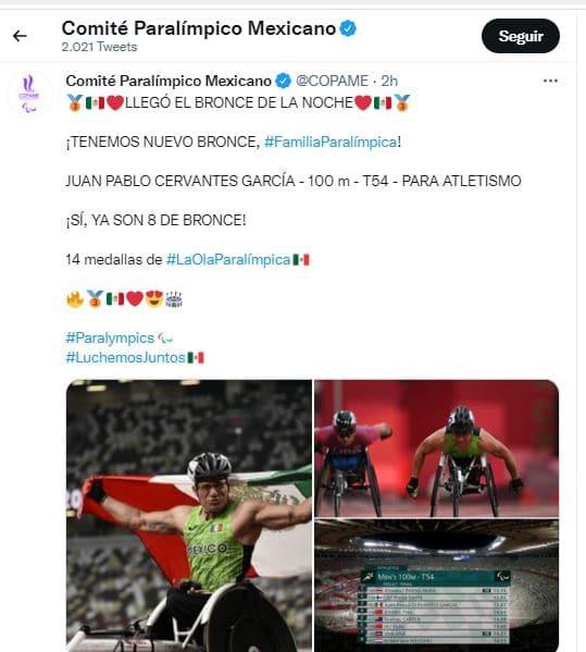 El Comité Paralímpico Mexicano celebró el triunfo de Juan Pablo Cervantes García.