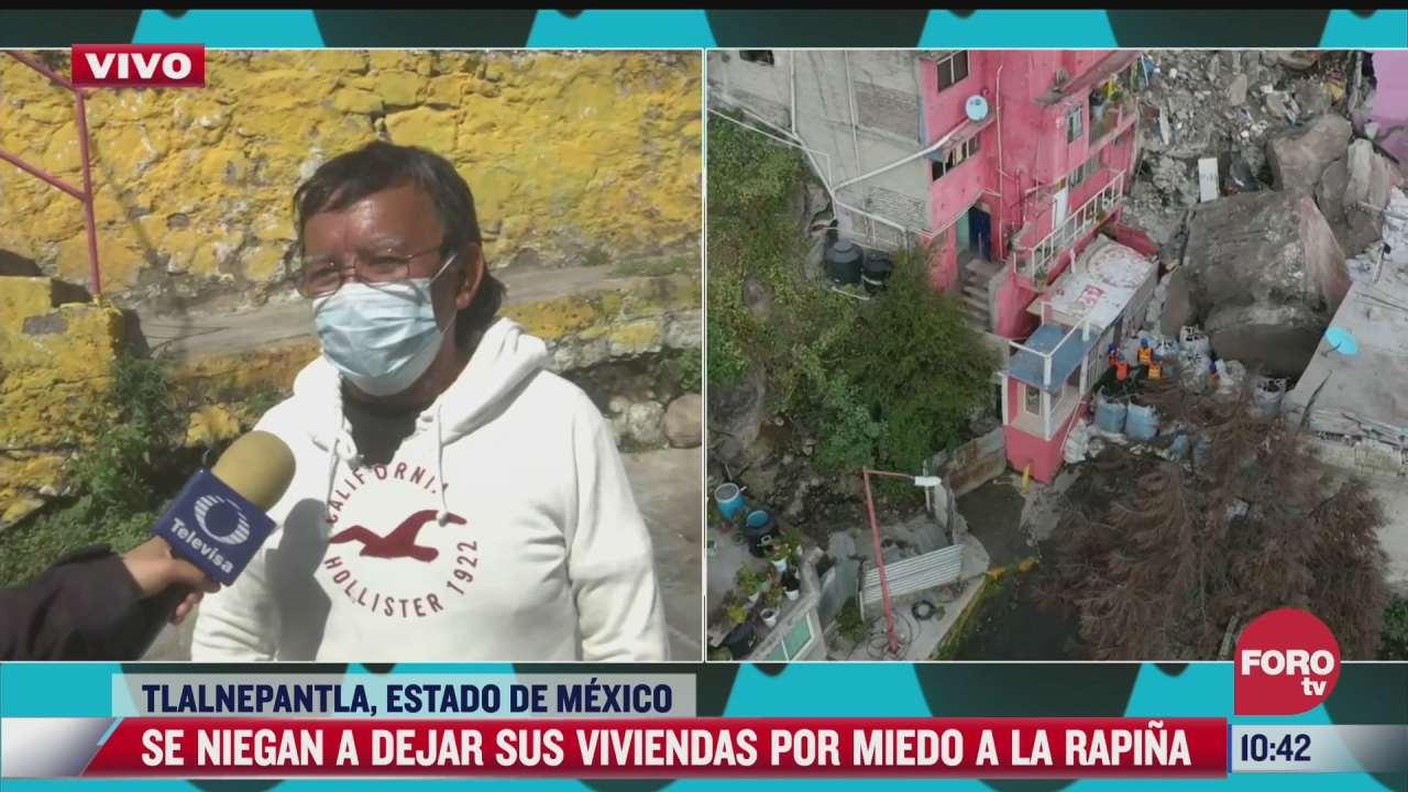 vecinos del cerro del chiquihuite se niegan a dejar sus casas por miedo a rapina