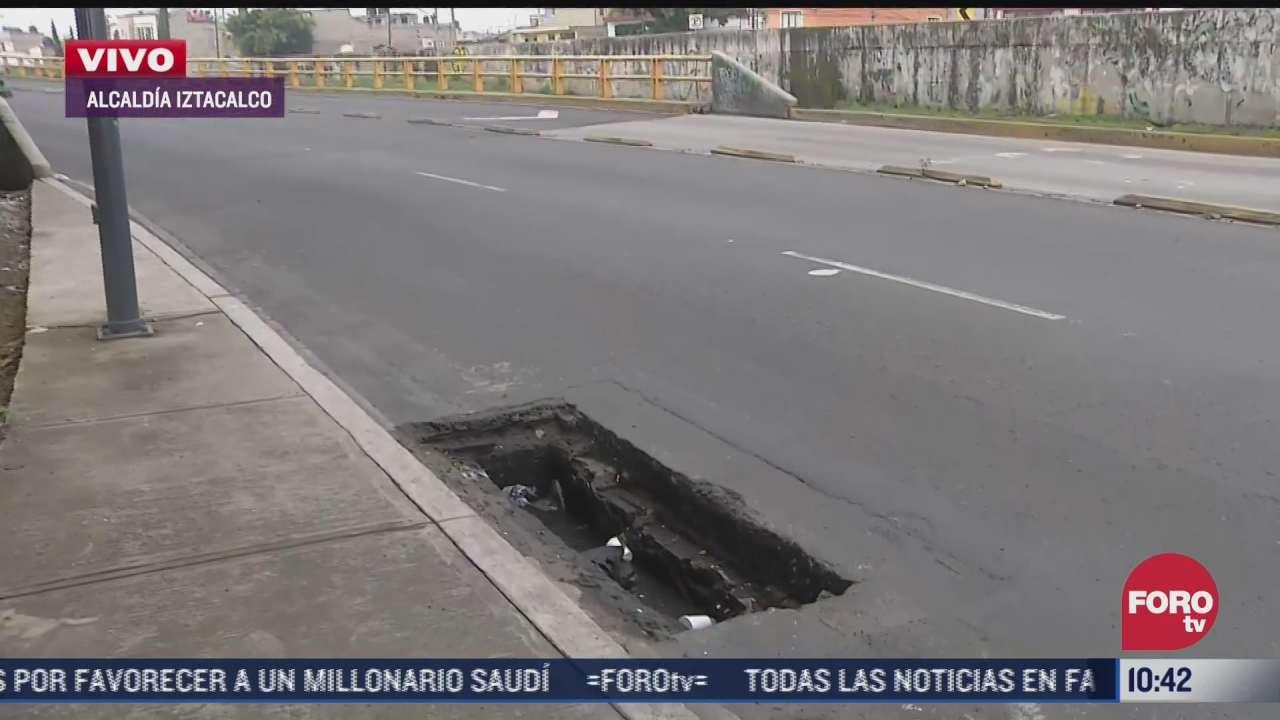 vecinos reportan socavon en la alcaldia iztacalco cdmx