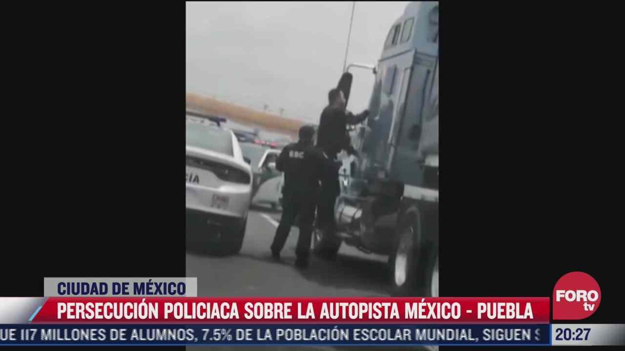 video captan persecucion policiaca sobre autopista mexico puebla