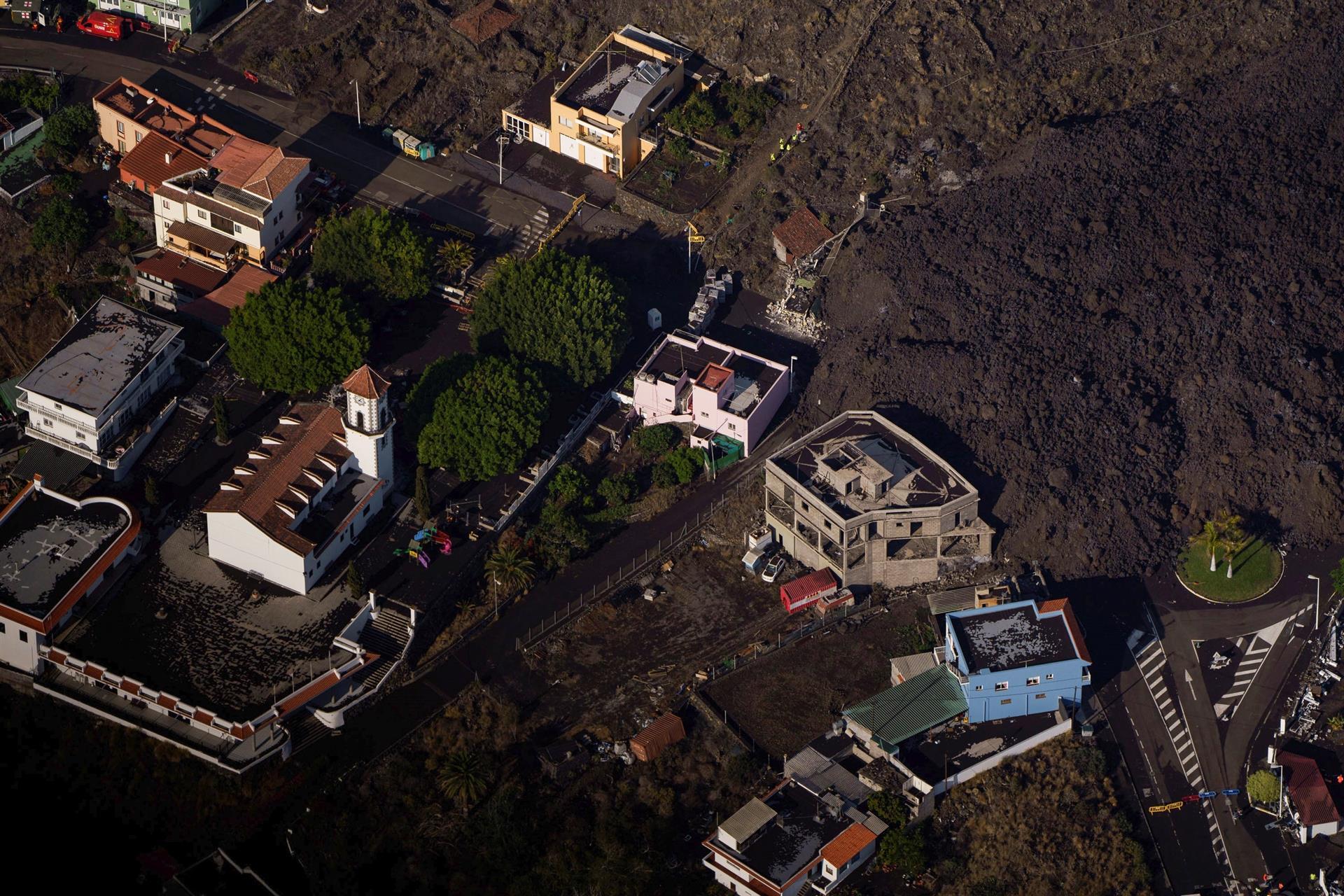 Daño y afectaciones de la lava del volcán La Palma en la isla española