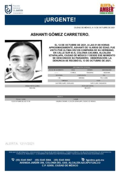 Activan Alerta Amber para localizar a Ashanti Gómez Carretero