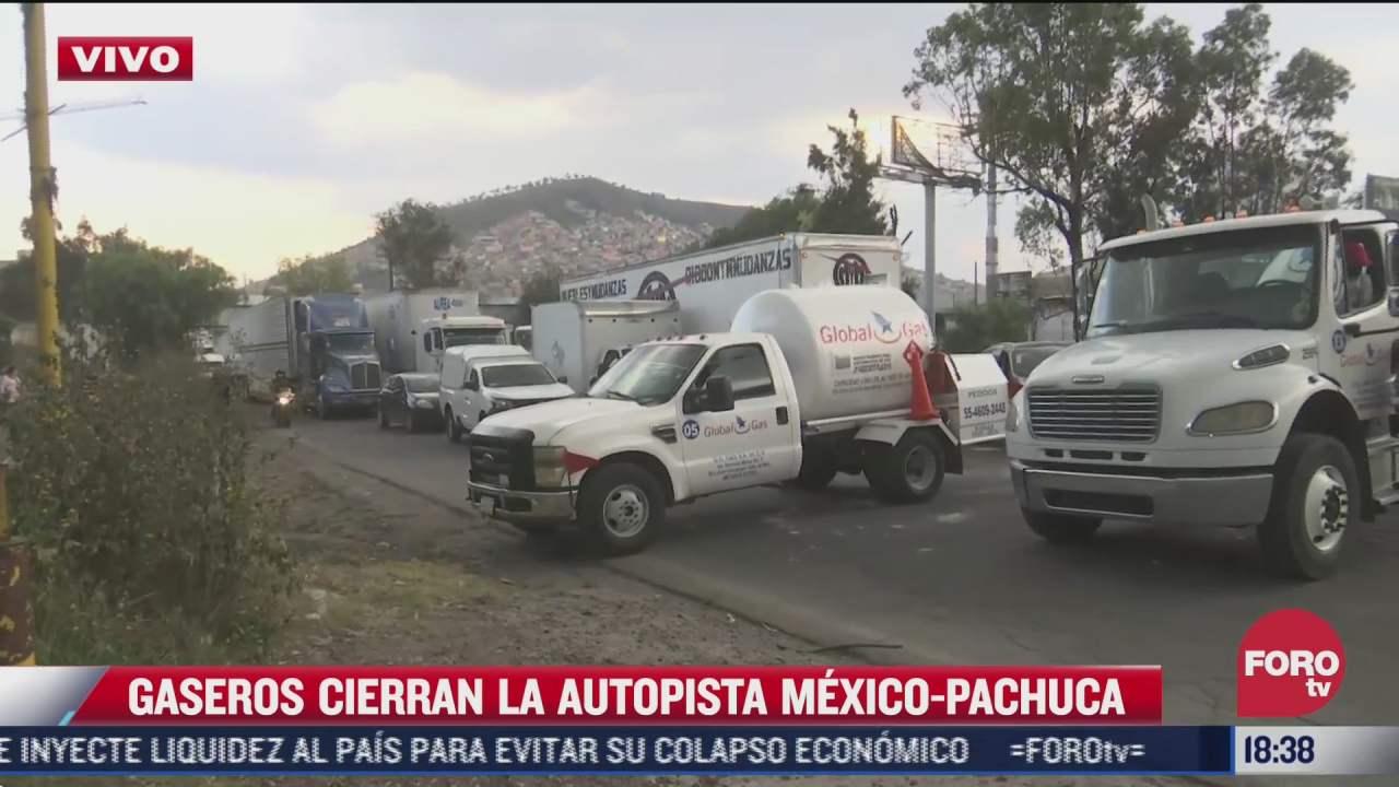 asi se registro el bloqueo de gaseros en la autopista mexico pachuca
