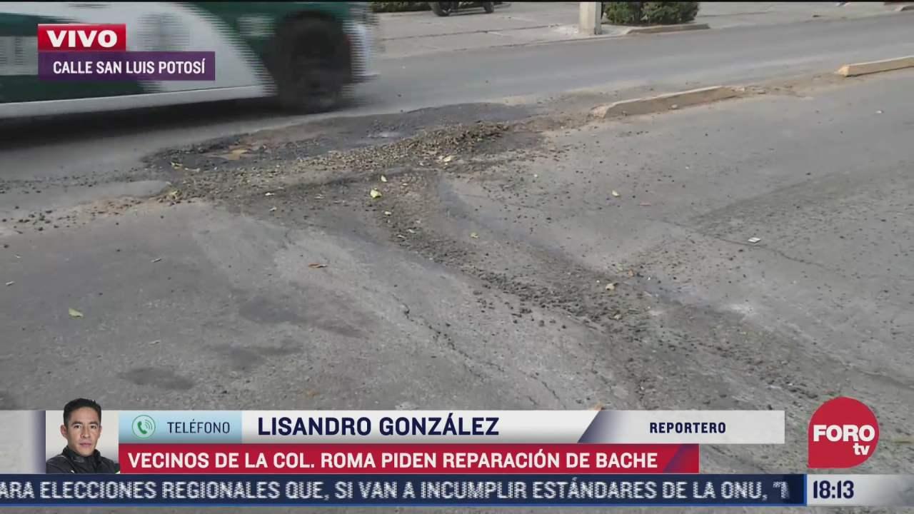 bache afecta a automovilistas en la colonia roma cdmx