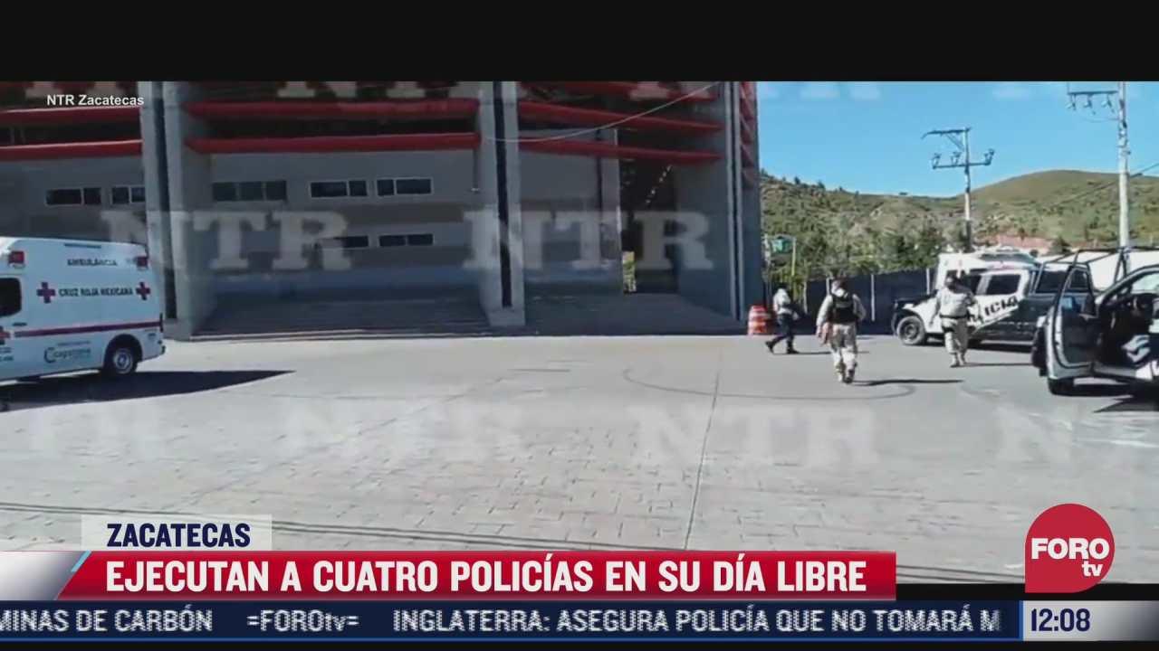balacera en zacatecas deja cuatro policias muertos