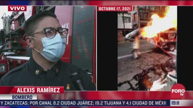 bombero describe acto de valor tras sacar tanque de gas en llamas en restaurante