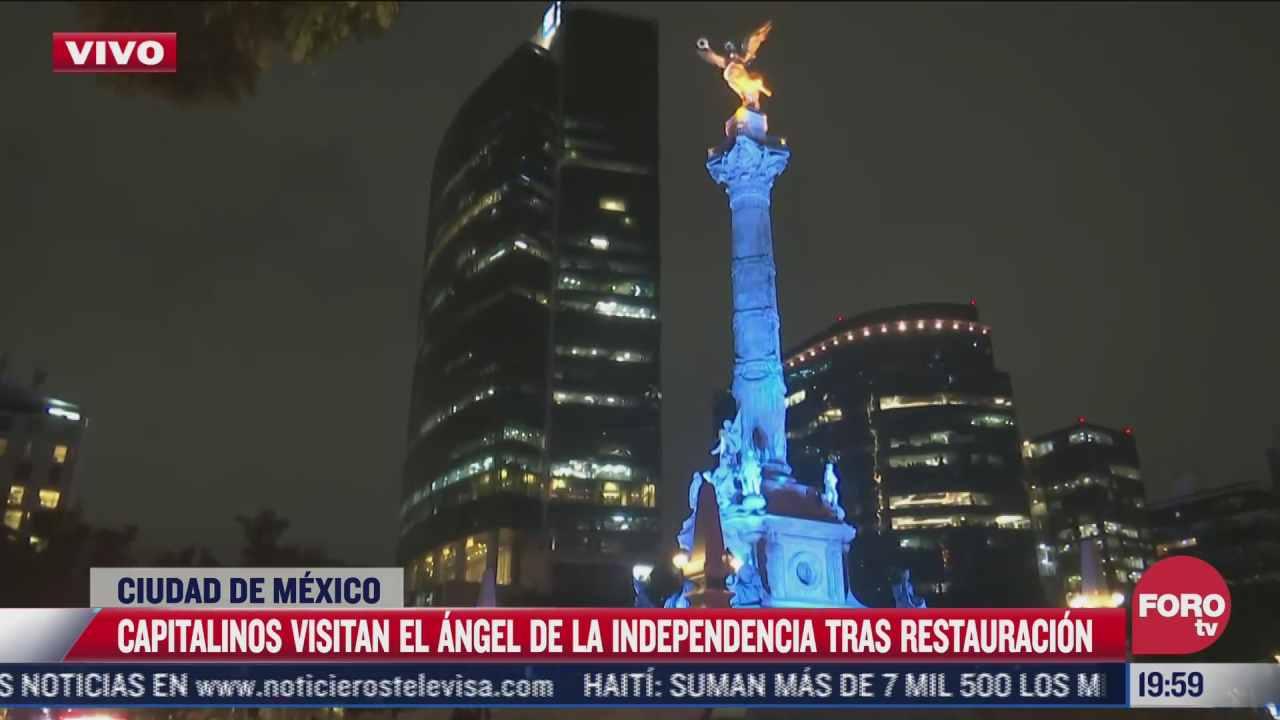 capitalinos visitan el angel de la independencia tras restauracion