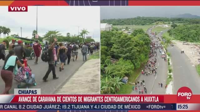 caravana migrante ingresa al municipio de huixtla
