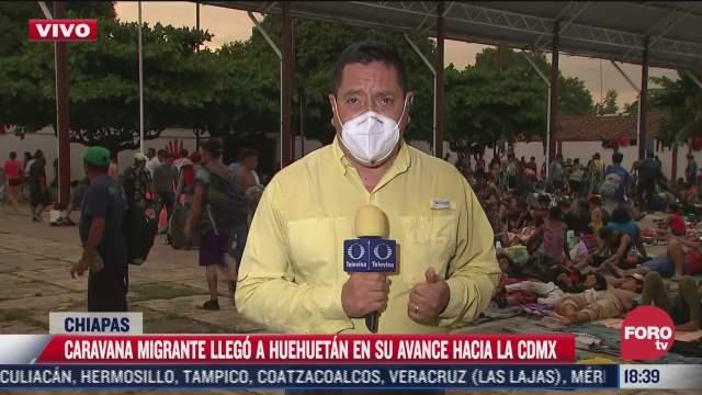 caravana migrante llega a huehuetan chiapas