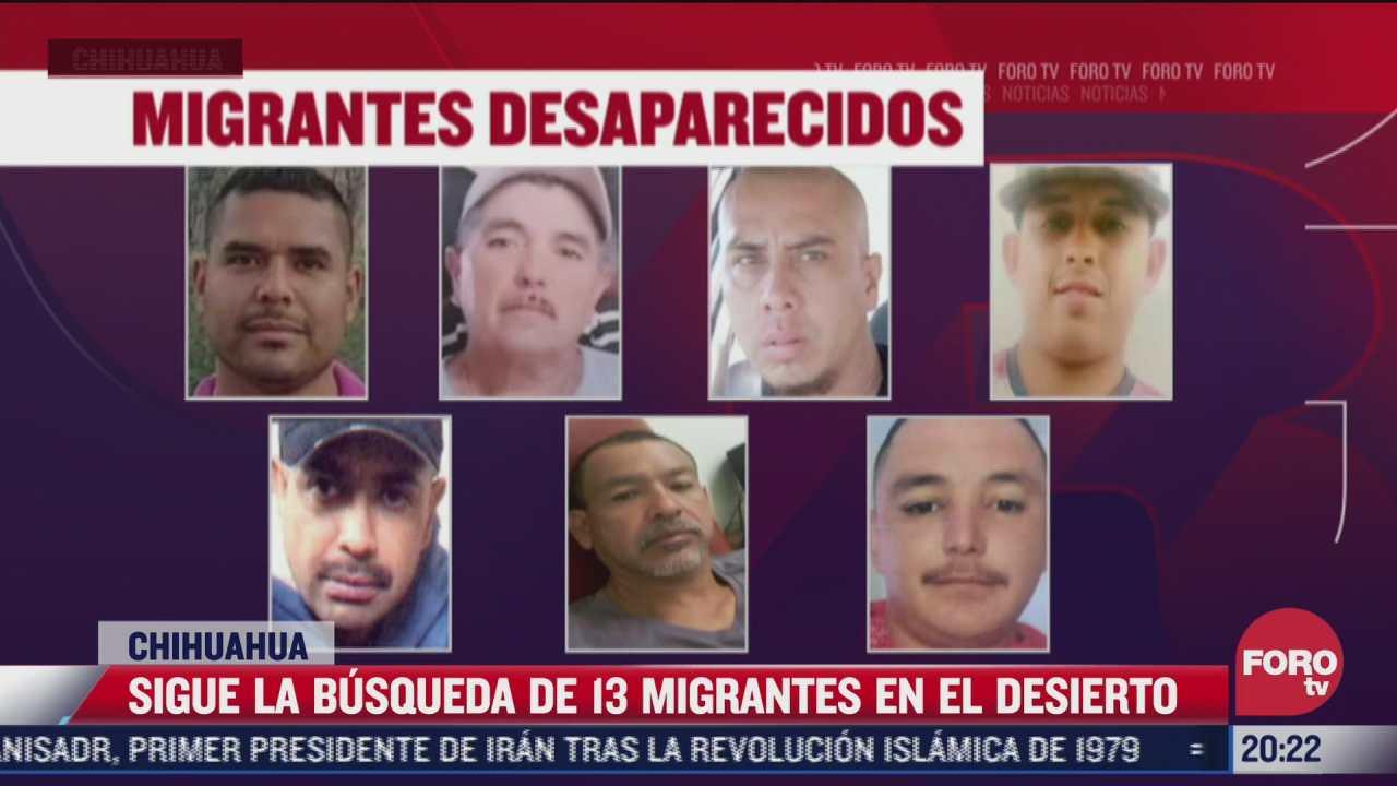 continua busqueda de 13 migrantes en desierto de chihuahua
