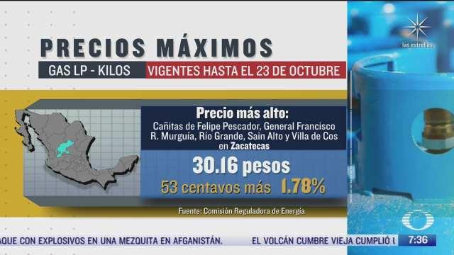 cuales son los precios del gas lp vigentes hasta el 23 de octubre de