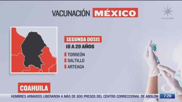 en que estados inicia la vacunacion covid hoy 25 de octubre de