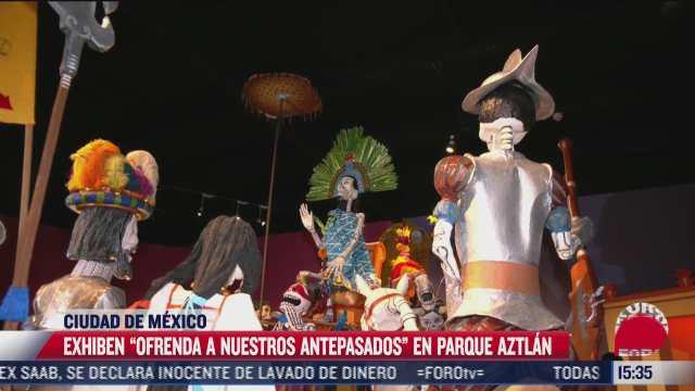 exhiben ofrenda a nuestros antepasados en parque aztlan