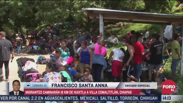 la caravana migrante llega a villa comaltitlan