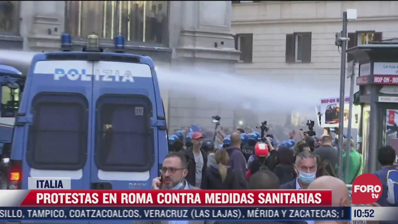 protestas en roma contra medidas sanitarias por covid