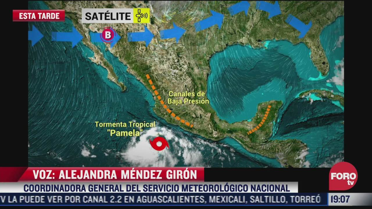 se desarrolla la tormenta tropical pamela