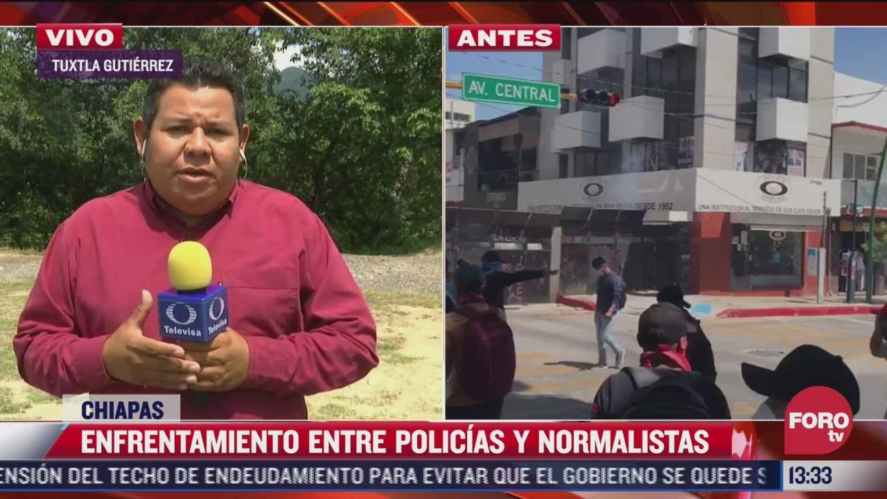 se registra enfrentamiento entre normalistas y policias en chiapas