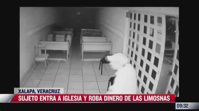 sujeto entra a iglesia y roba dinero de las limosnas en xalapa veracruz