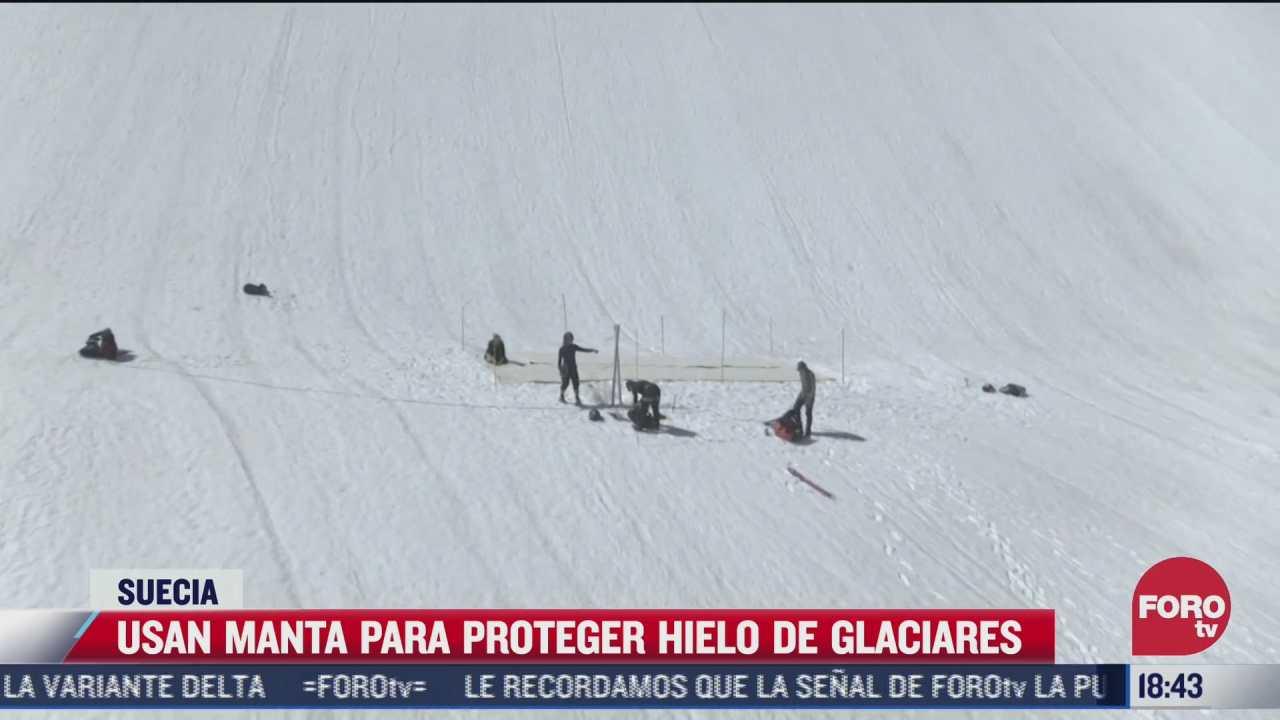 usan manta para proteger hielo de glaciares en suecia