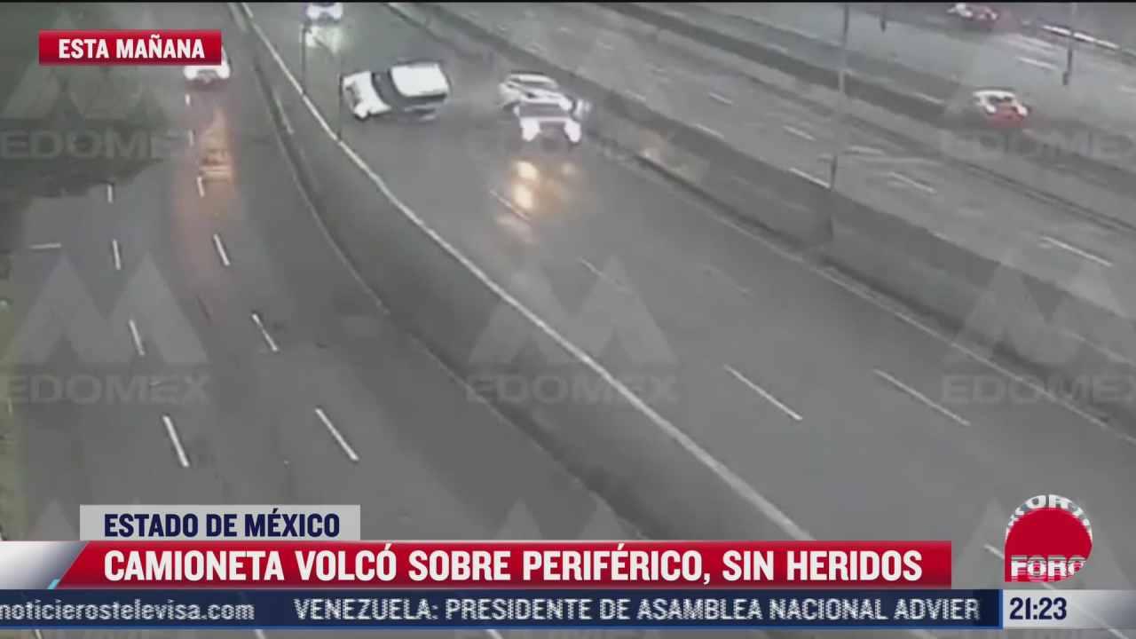 video camioneta volco sobre periferico en estado de mexico