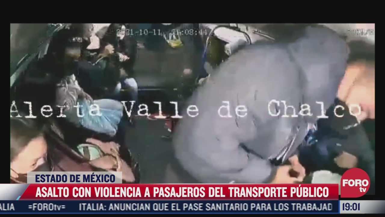 video sujetos asaltan a pasajeros del transporte publico en chalco