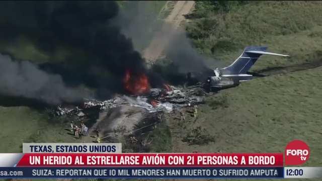video un herido al estrellarse avion con 21 personas a bordo en texas eeuu