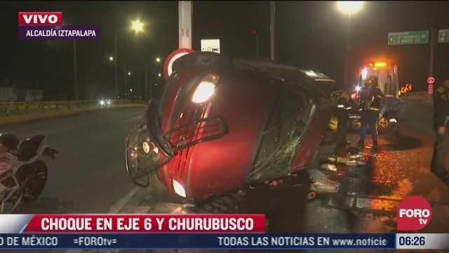 vuelca camioneta en circuito interior por exceso de velocidad hay dos heridos