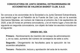 convocatoria junta accionistes valencia basket
