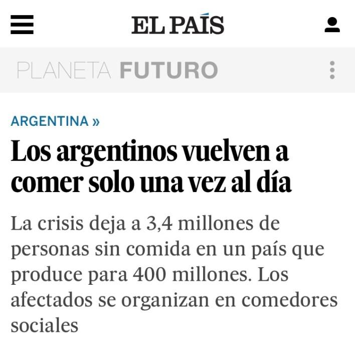 """El impopular presidente neoliberal argentino, Mauricio Macri, lo hizo de nuevo, entre otros tantos """"logros"""", el líder de Cambiemos ahora consiguió que la alarmante crisis social que atraviesa la Argentina, producto de la debacle económica generada por su Gobierno, ya sea tapa en los diarios del mundo."""