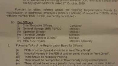 regularization of employees working in discos notifications.pk