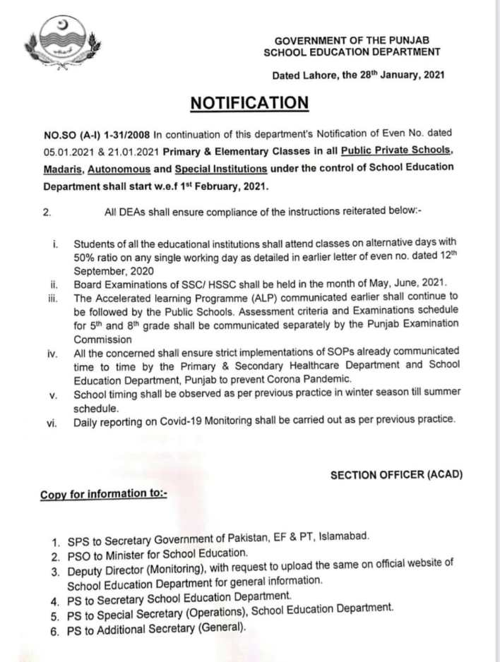 Re oppening of schools in punjab