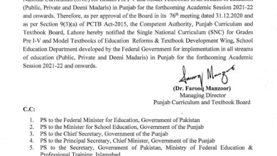 Notification-of-Single-National-Curriculum-SNC-for-Class-Pre-One-to-5th