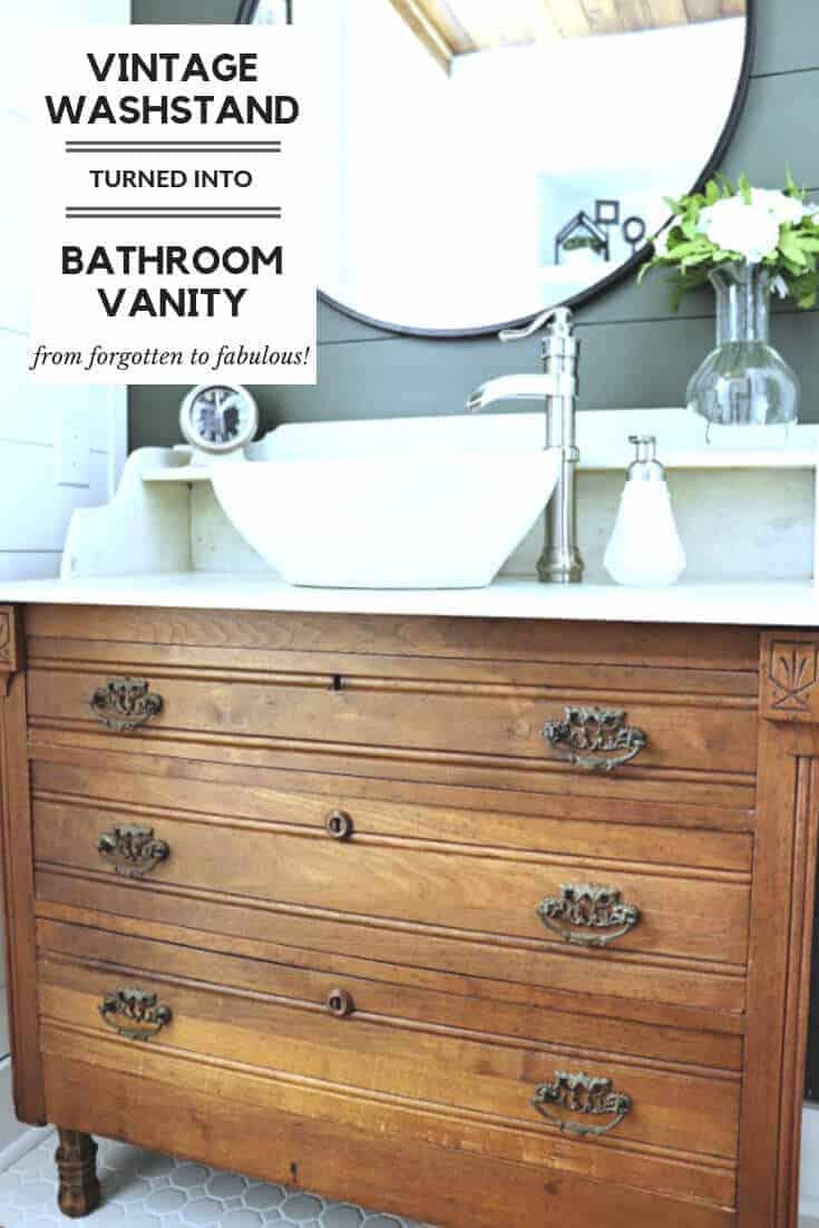 vintage washstand turned bathroom