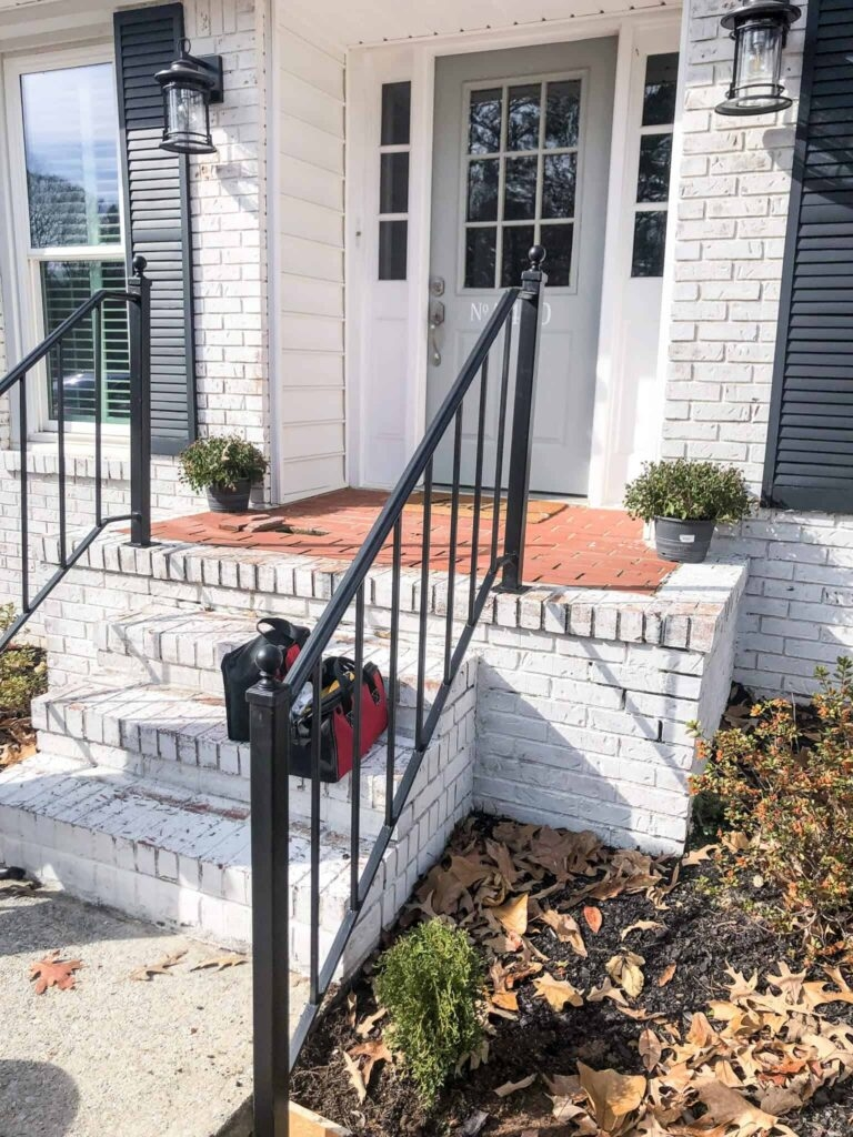 How To Repurpose Exterior Iron Stair Railings Noting Grace | Handrails For Front Steps | Stair | Brick | Steel | Simple | Contemporary